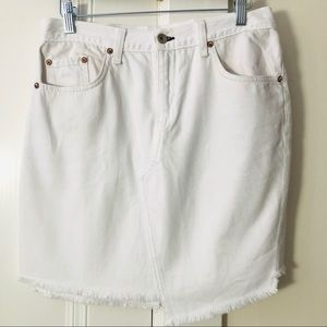 Rag & Bone White Jeans Skirt w/ Asymmetrical Hem